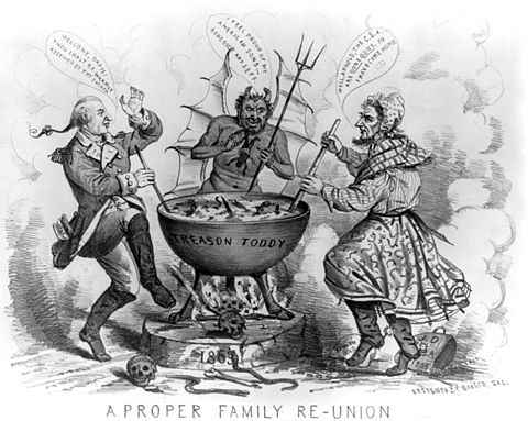 An 1865 political cartoon depicting Benedict Arnold and Jefferson Davis in hell JeffersonDavisBenedictArnoldTreasonCartoon1865.jpg