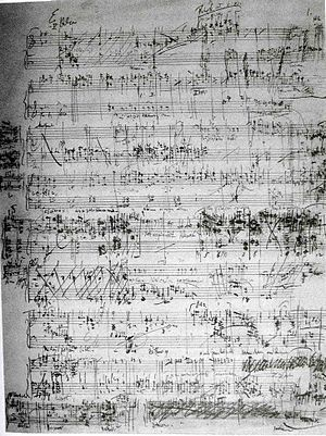 Leoš Janáček - The only preserved page of the autograph manuscript of Janáček's Jenůfa