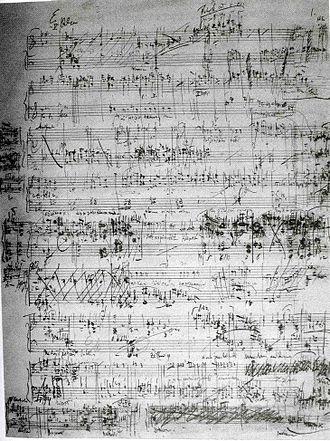 Leoš Janáček - The only preserved page of the autograph manuscript of Janáček's Jenůfa