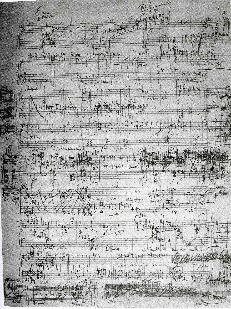 Jen%C5%AFfa - the only well-preserved page of the score