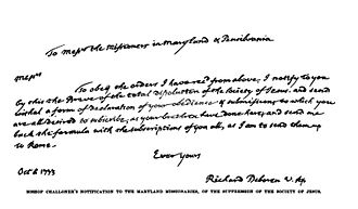 John Carroll (bishop) - Letter of Bishop Challoner to the Maryland Jesuits informing them of the suppression of the Society of Jesus