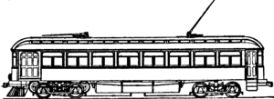 Jewett Car Company - A sketch of a car supplied by the Jewett Car Company and fitted with a trolley pole to connect with the overhead lines.