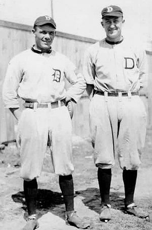 Joe Cobb (baseball) - Joe Cobb (left) standing with teammate Ty Cobb (right)