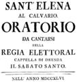 Johann Adolph Hasse - Sant'Elena al Calvario - italian titlepage of the libretto - Dresden 1746.png