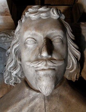 John Bluett - Sir John Bluett (1603-1634)of Holcombe Court, detail from his effigy in the Bluett Chapel, All Saints Church, Holcombe Rogus, Devon