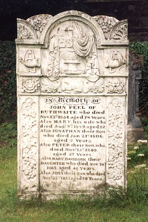 John Peel (huntsman) - Headstone of John Peel in the churchyard of St Kentigern's Church, Caldbeck, Wigton, Cumbria, UK