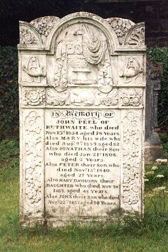 John Peel (huntsman) - Headstone of John Peel in the churchyard of StKentigern's Church, Caldbeck, Wigton, Cumbria, UK