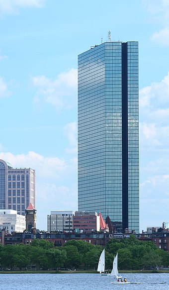 200 Clarendon Street is the tallest building in Boston, with a roof height of 790 feet (240 m). John Hancock Tower.jpg