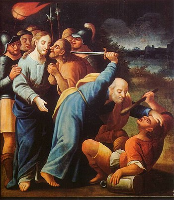 The kiss of Judas and Peter cutting off the ea...