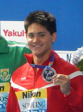 Joseph Schooling is a gold medalist and Olympic record holder at the Rio 2016 Games – 100 m butterfly.[462]