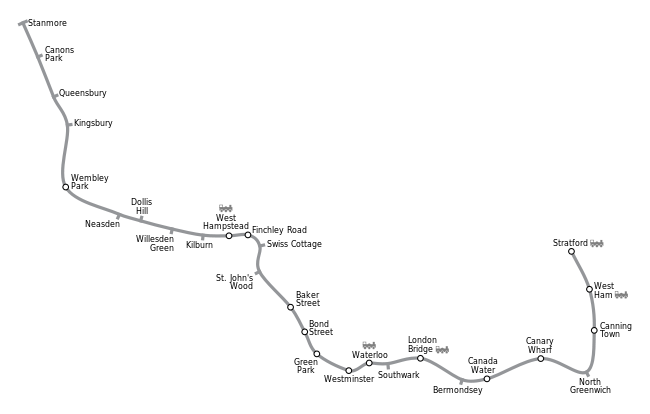 Geographical path of the Jubilee line