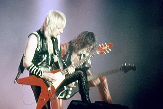 Judas Priest - Downing and Tipton performing in San Sebastián, Spain, during their World Conqueror Tour of 1984.