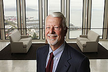 Judge Vaughn Walker Photo in Lobby with San Francisco in Background.JPG
