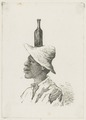 KITLV - 36B245 - Borret, Arnoldus - Man with hat and bottle on his head - Pen and ink - Circa 1880.tif