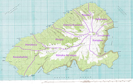 Topographical map of Kahoʻolawe with traditional ʻili subdivisions