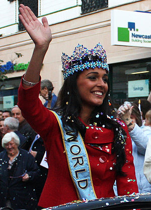 History of the Genoese in Gibraltar - Kaiane Aldorino, Miss World 2009, during her homecoming celebrations in Gibraltar