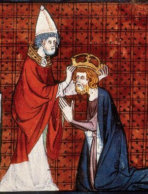 Coronation - Miniature of Charlemagne crowned emperor by Pope Leo III, from Chroniques de France ou de Saint Denis, vol. 1; France, second quarter of 14th century.
