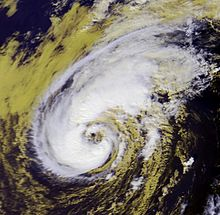 Satellite imagery showing a large tropical storm on the cusp of becoming a hurricane