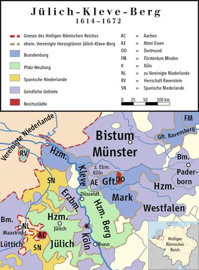 Karte Jülich-Kleve-Berg (1614–1672)