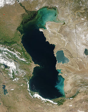 Satellitenaufnahme des Kaspischen Meeres
