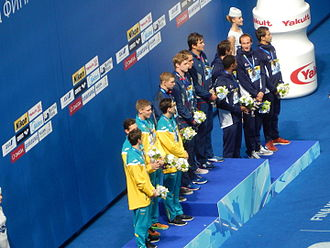 Swimming at the 2015 World Aquatics Championships – Men's 4 × 100 metre medley relay - Victory Ceremony