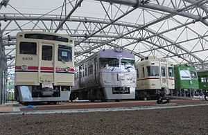 Keio Rail-Land - The outdoor exhibits before opening, August 2013