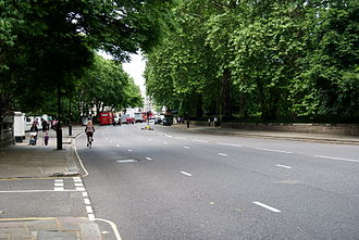 Kensington Road - Kensington Road from the Royal Albert Hall, looking west.