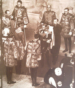 State Opening of Parliament - King Edward VIII surrounded by heralds of the College of Arms on his only State Opening of Parliament, on 3 November 1936