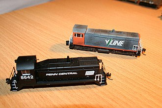 Kitbashing - Commercial model of an EMD SW9 kitbashed into a 'lookalike' of a Victorian Railways Y class.