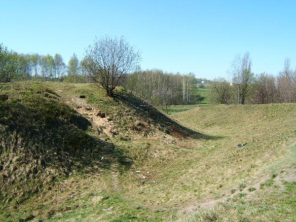 Kochłowice - grodzisko. Widok od północy na fosę. Autor: Przemek Noparlik, lic. CC BY-SA 3.0.