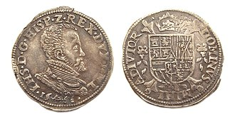 Philip II of Spain - Portrait of Philip II on 1/5 Philipsdaalder, struck 1566, Guelders, Low Countries