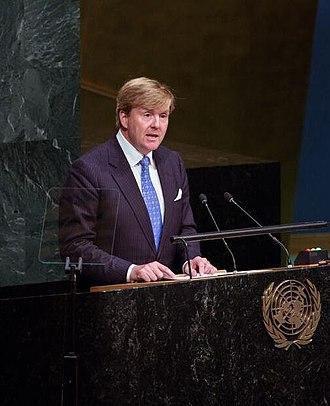 Monarchy of the Netherlands - Image: Koning Willem Alxander houdt toespreek bij VN