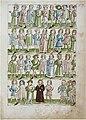 Konstanzer Richental Chronik Fronleichnamsprozession sechs Fürsten, dahinter adlige Herren, hinter dem Schwertträger des unteren Registers Volk 53r.jpg