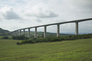 Highways in Hungary - M7 in Kőröshegy Viaduct.