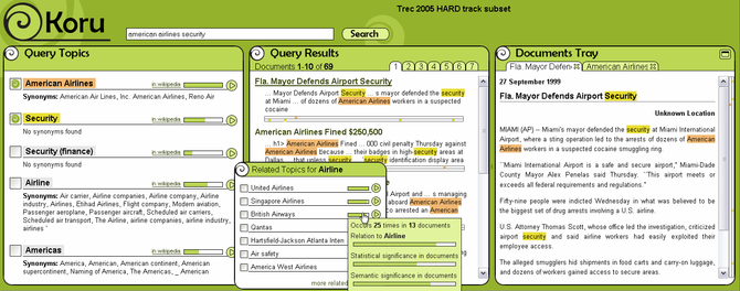 Screenshot of the Koru search engine.