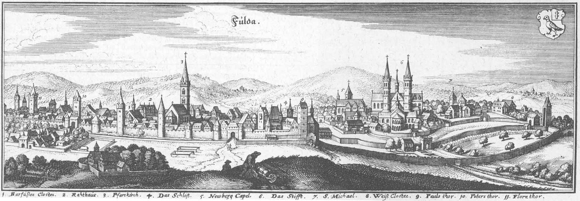 Panoramabild Fulda 1655 in der Topographia Hassiae et regionum vicinarum
