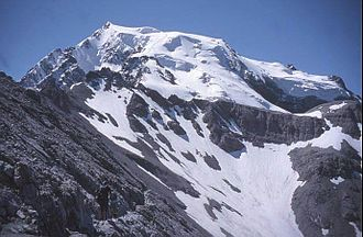 Ortler - The Ortler seen from the North ridge showing the normal route of ascent