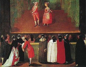 Dipinto del XVIII secolo raffigurante una scena di un intermezzo comico a Venezia.