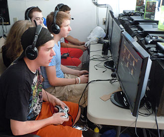 LAN gaming center - At GameOn Party Planners in Pennsylvania, USA. Eight teams from three states came here for a one-day Xbox gaming tournament.