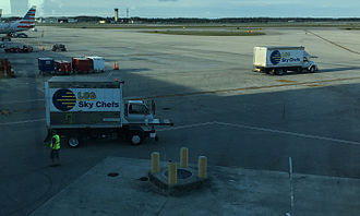 LSG Sky Chefs - LSG Chef trucks on the tarmac at Fort Lauderdale–Hollywood International Airport.