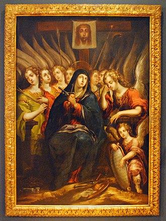 Our Lady of Sorrows (Cristóbal de Villalpando) - Cristóbal de Villalpando. Our lady of sorrows. Between c 1680 - 1689. Col. Museo Soumaya