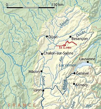 Battle of Magetobriga - La Loue (bassin Doubs-Saône) (carte)