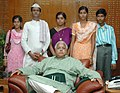 Lalu Prasad has offered the jobs in railways for two daughters of Sh. Vinayak Rao Tope, descendants of Martyr Tatya Tope in New Delhi. Photo shows the family members of Sh. Vinayak Rao Tope with Sh. Lalu Prasad.jpg