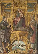 Lanceloot Blondeel - Madonna with painter guild protectors Saints Lukas and Eligus.jpg