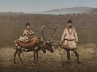 Sami people - A Sami man and child in Finnmark, Norway, circa 1900