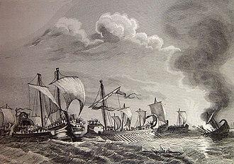 Battle of Ebro River - 1852 illustration of the battle