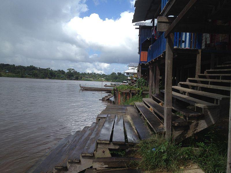 Wooden houses along Lawa River - Suriname