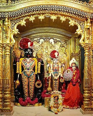 Swaminarayan Sampraday - Murtis of Laxmi Narayan with Ranchhodrai at Vadtal