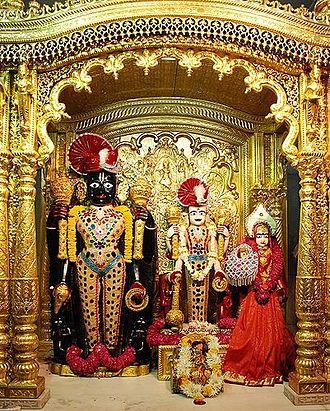 Swaminarayan Sampraday - Murtis of Laxmi Narayan with Ranchhodrai at Vadtal