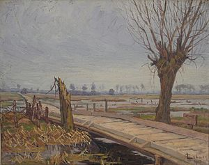Yser Front - Depiction of the Yser Front by the Belgian artist Georges-Émile Lebacq (1917)